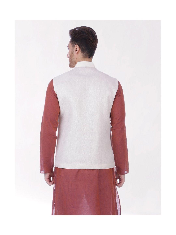 Peach Cream Slim Fit Nehru Jacket
