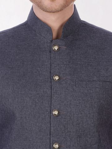 Grey Slim Fit Nehru Jacket