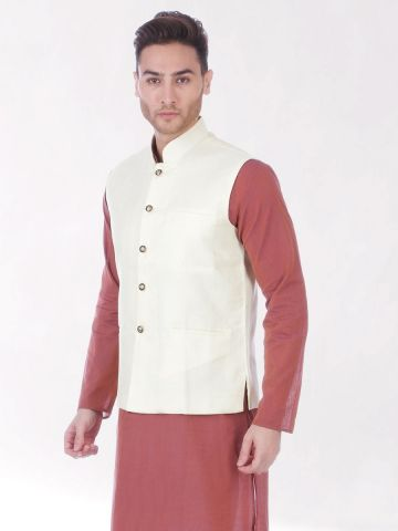 Lemon Cream Slim Fit Nehru Jacket