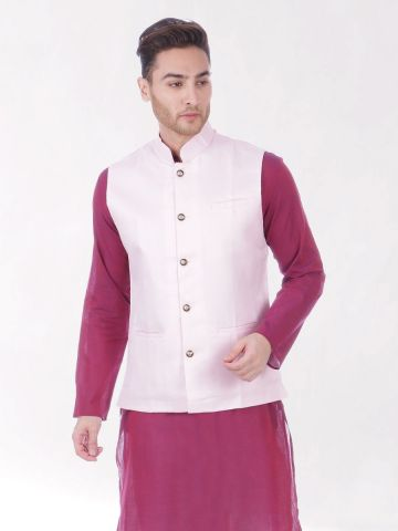 Pink Slim Fit Nehru Jacket