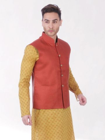 Rust Red Slim Fit Nehru Jacket