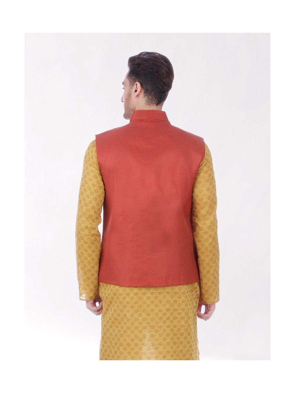 Rust Red Slim Fit Nehru Jacket