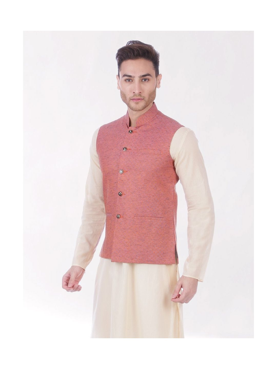 Pink Slub Slim Fit Nehru Jacket