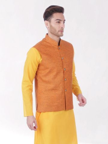 Orange Slub Slim Fit Nehru Jacket