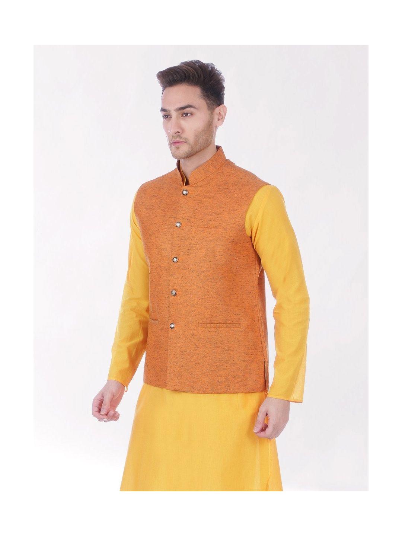 Orange Slub Slim Fit Nehru Jacket