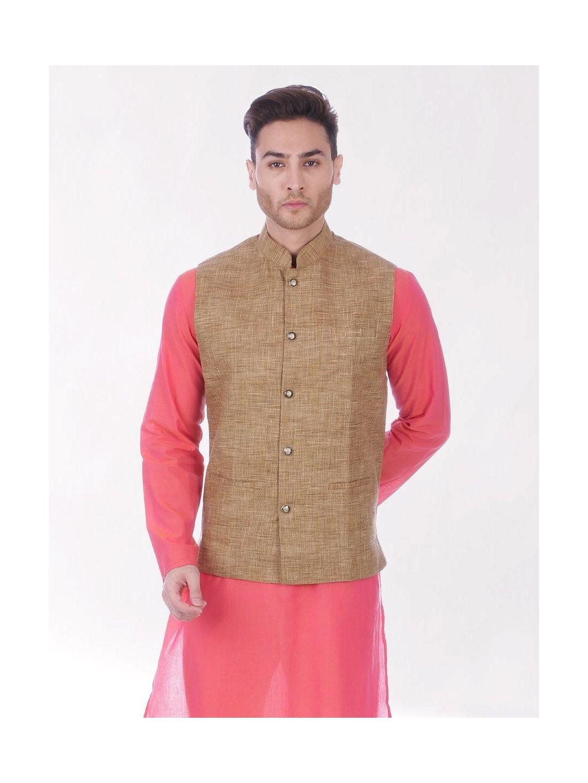 Gold Slub Slim Fit Nehru Jacket