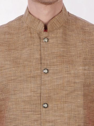 Gold Slub Slim Fit Nehru Jacket
