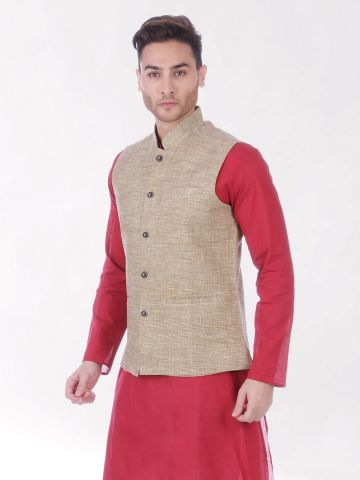 Brown Slub Slim Fit Nehru Jacket