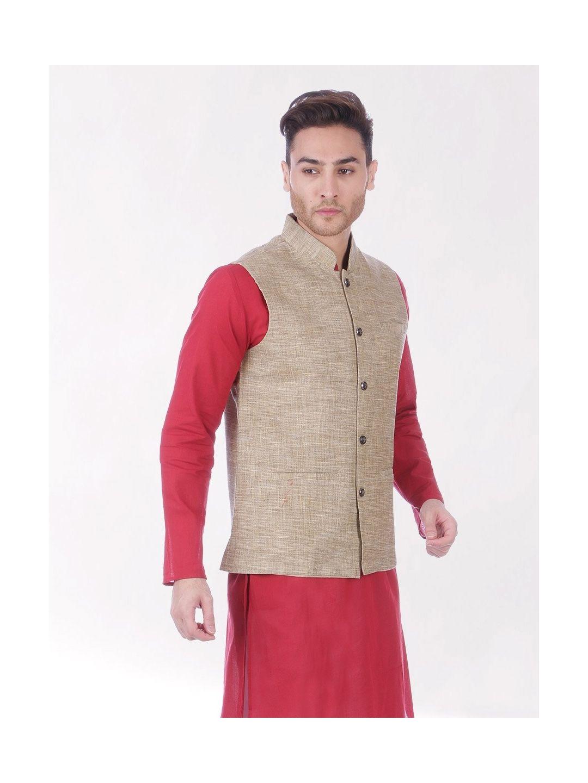Brown Slub Slim Fit Nehru Jacket