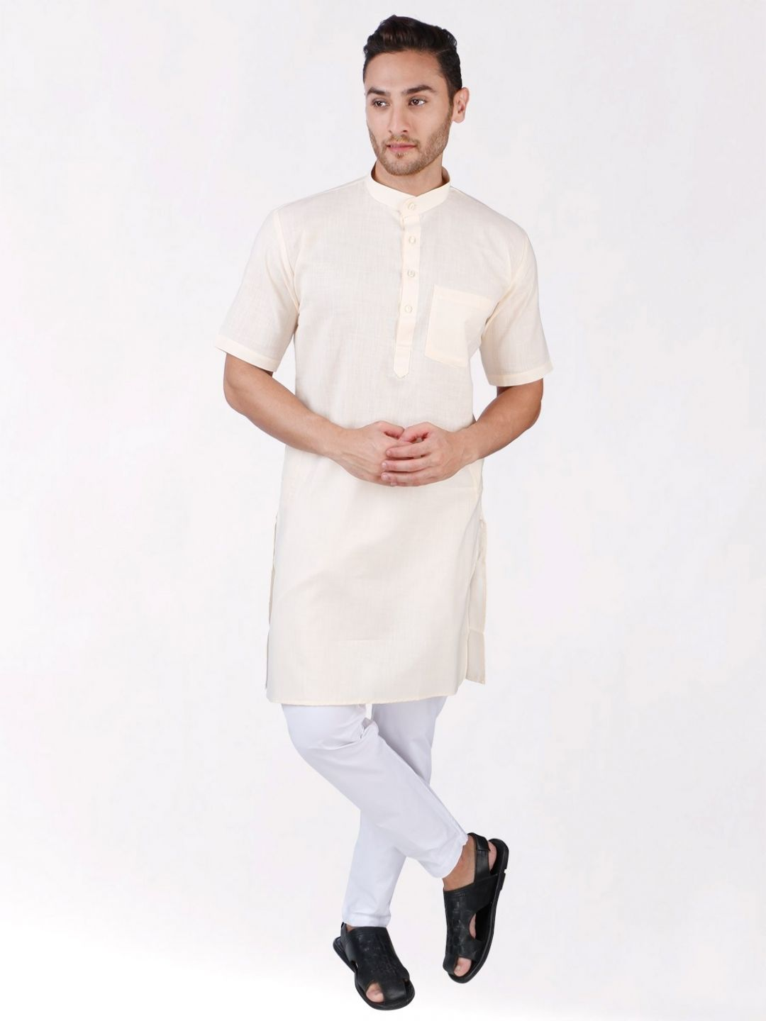Cream Tussar Cotton Kurta (Half Sleeve)