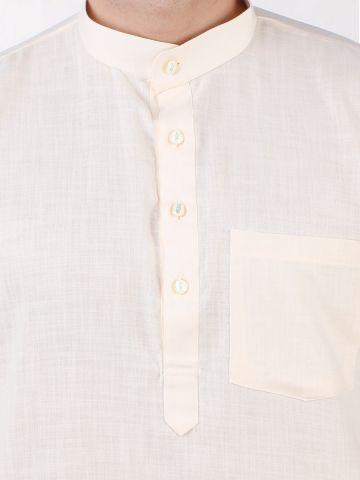 Cream Tussar Cotton Kurta (Half Sleeve)