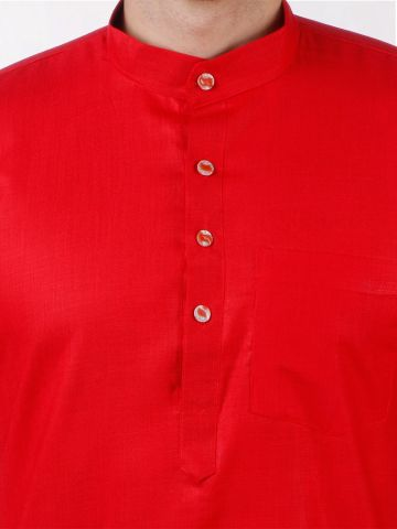 Red Tussar Cotton Kurta (Half Sleeve)