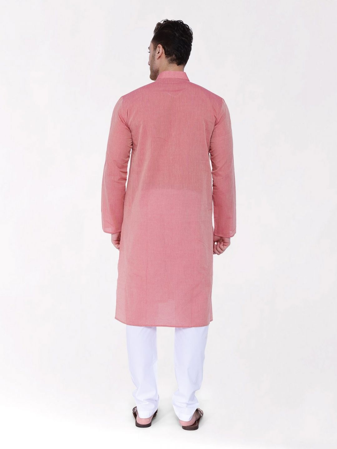 Coral Red Handloom Cotton Kurta
