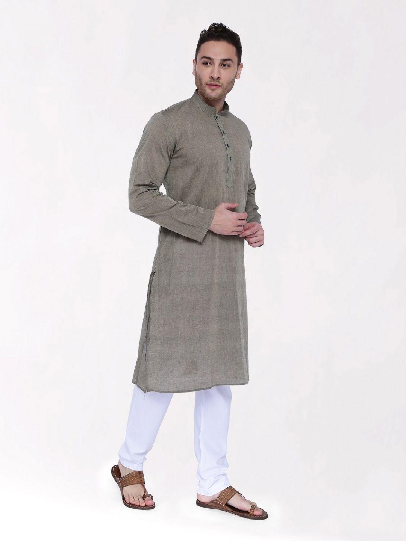 Dark Grey Handloom Cotton Kurta