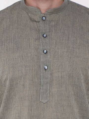 Dark Grey Handloom Cotton Kurta
