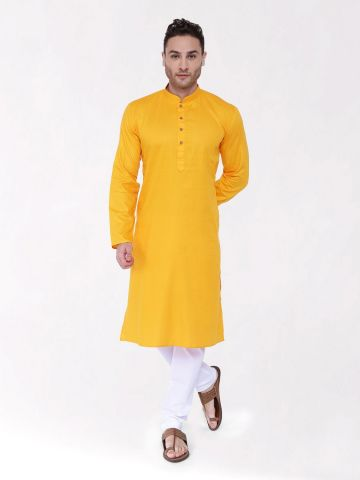 Mango Orange Woven Design Premium Cotton Kurta