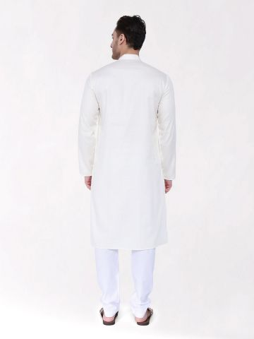 Off White Woven Design Premium Cotton Kurta