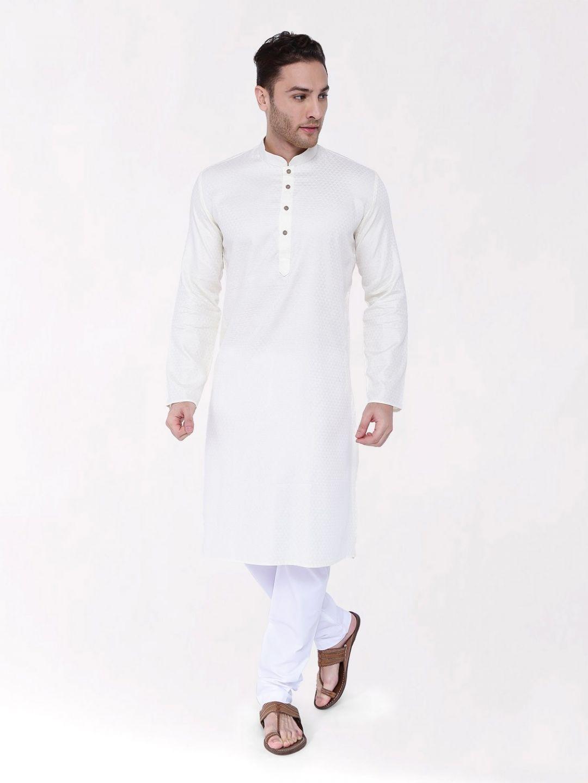 Off White Woven Design Premium Cotton Kurta