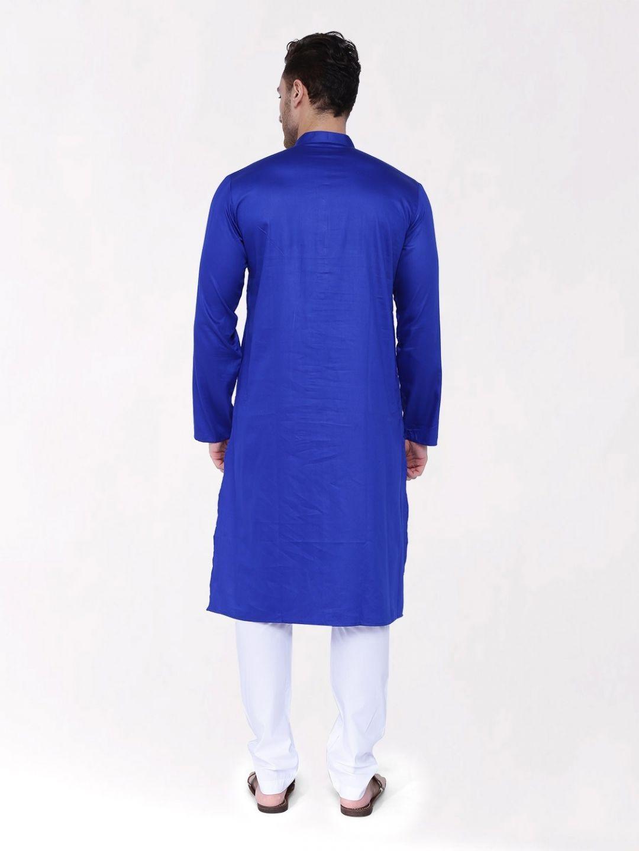 Blue Satin Cotton Kurta