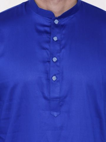 Blue Satin Cotton Kurta