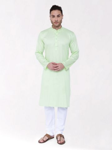 Pista Green Satin Cotton Kurta