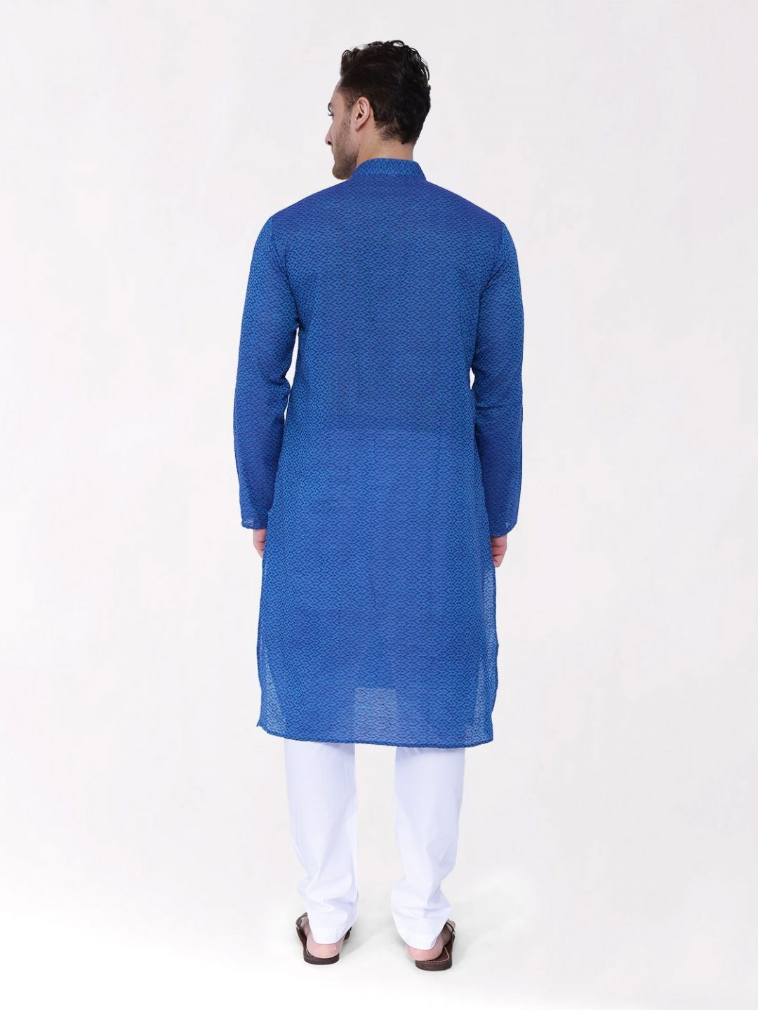 Blue  Woven Design Handloom Cotton Kurta