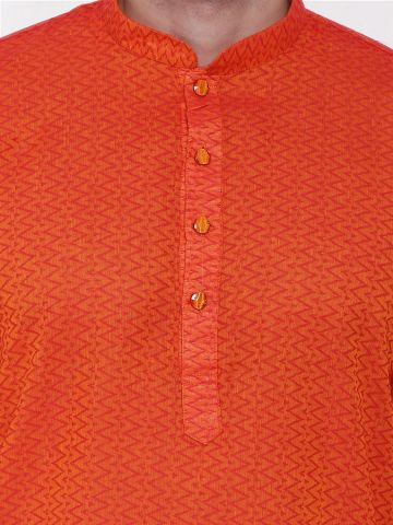 Orange Woven Design Handloom Cotton Kurta