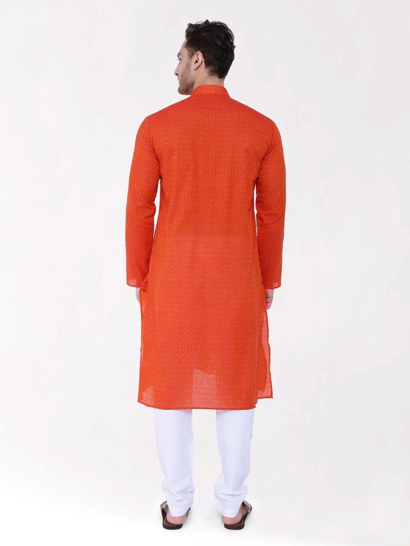 Orange Woven Design Handloom Cotton Kurta
