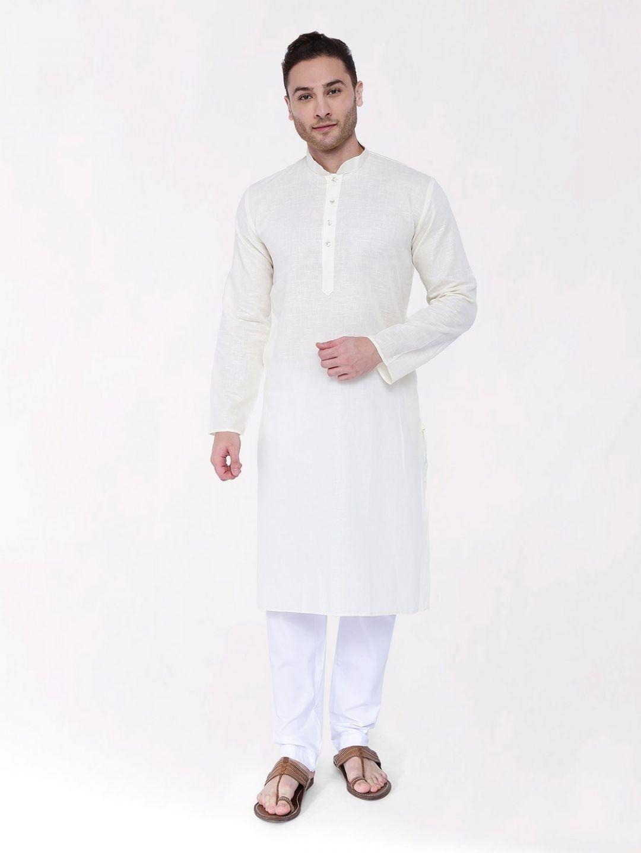 Off-White Linen Blend Long Kurta
