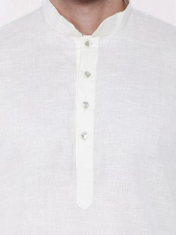 Off-White Linen Blend Long Kurta