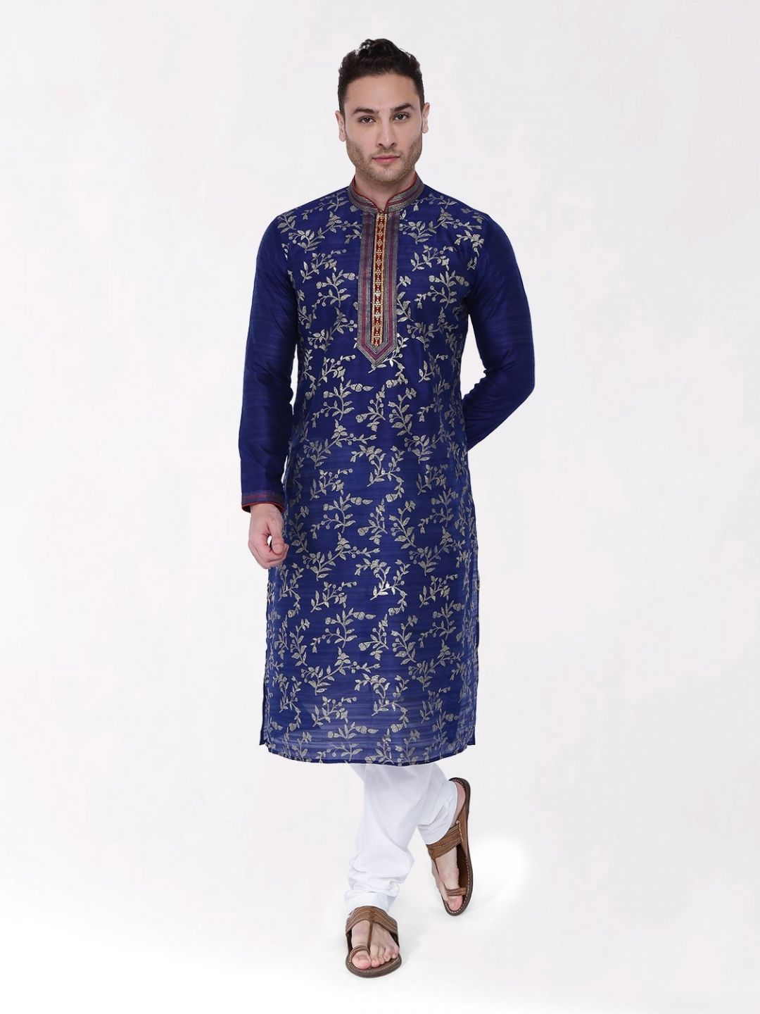 Navy Blue Embroidered Silk Kurta Churidar Set