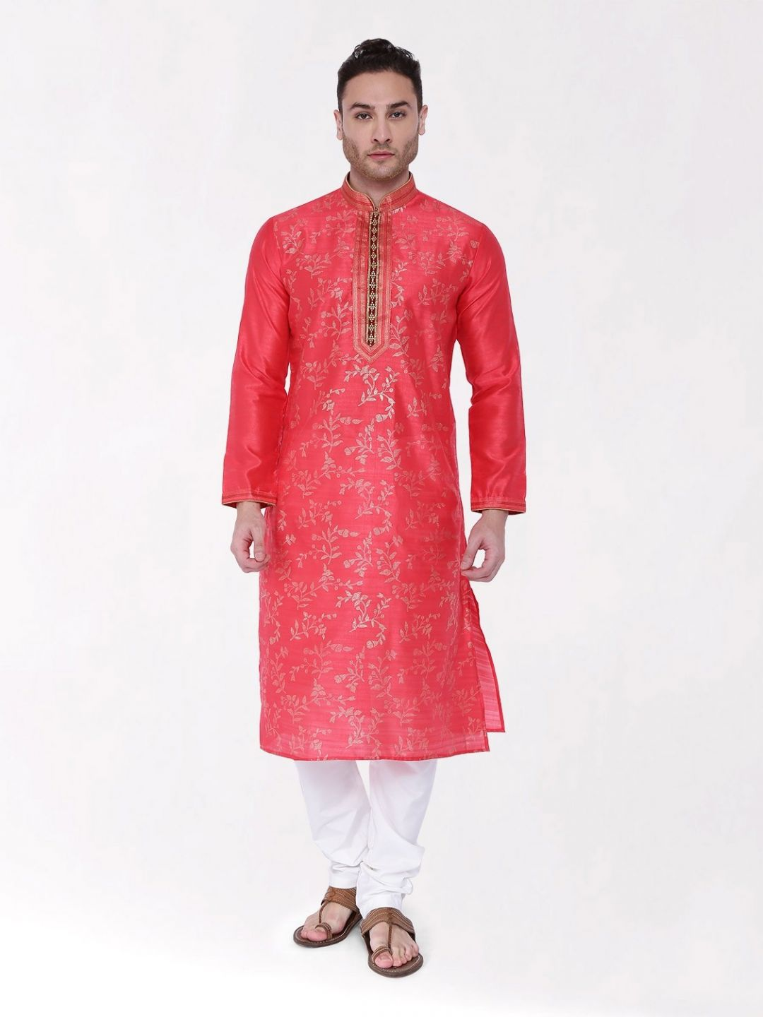 Pink Embroidered Silk Kurta Churidar Set