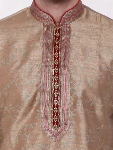 Gold  Embroidered Silk Kurta Churidar Set