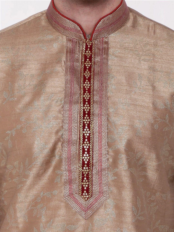 Gold  Embroidered Silk Kurta Churidar Set
