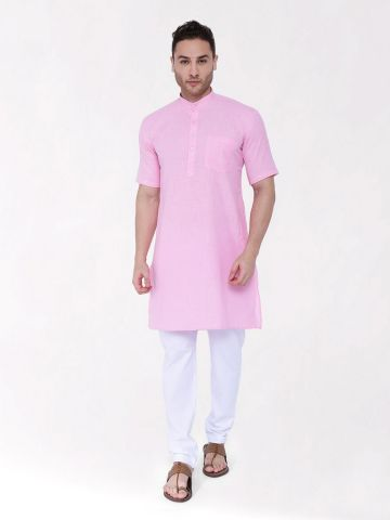 Light Pink Tussar Cotton Kurta (Half Sleeve)