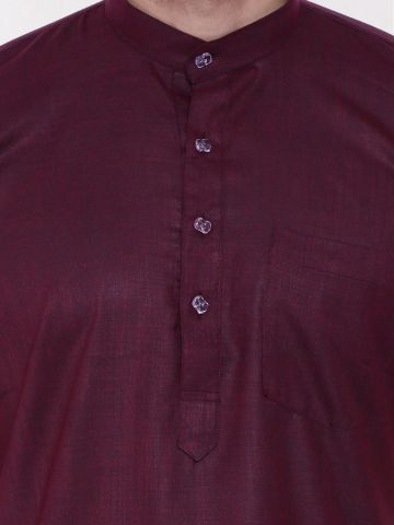 Vine Purple Tussar Cotton Kurta (Half Sleeve)