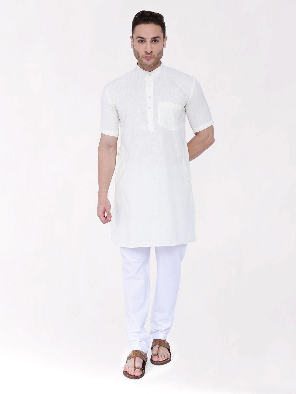 Off White Tussar Cotton Kurta (Half Sleeve)