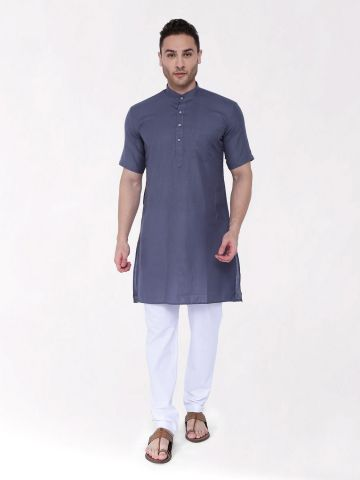 Grey Tussar Cotton Kurta (Half Sleeve)