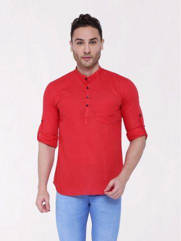 Red Roll Up Sleeve Linen Short Kurta