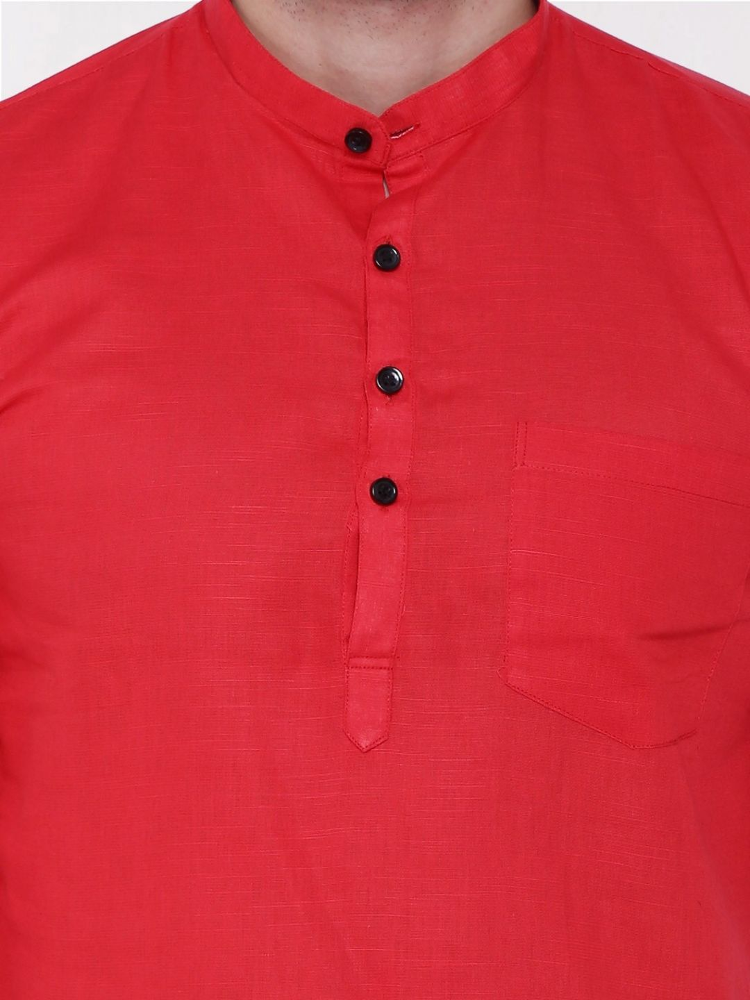 Red Roll Up Sleeve Linen Short Kurta