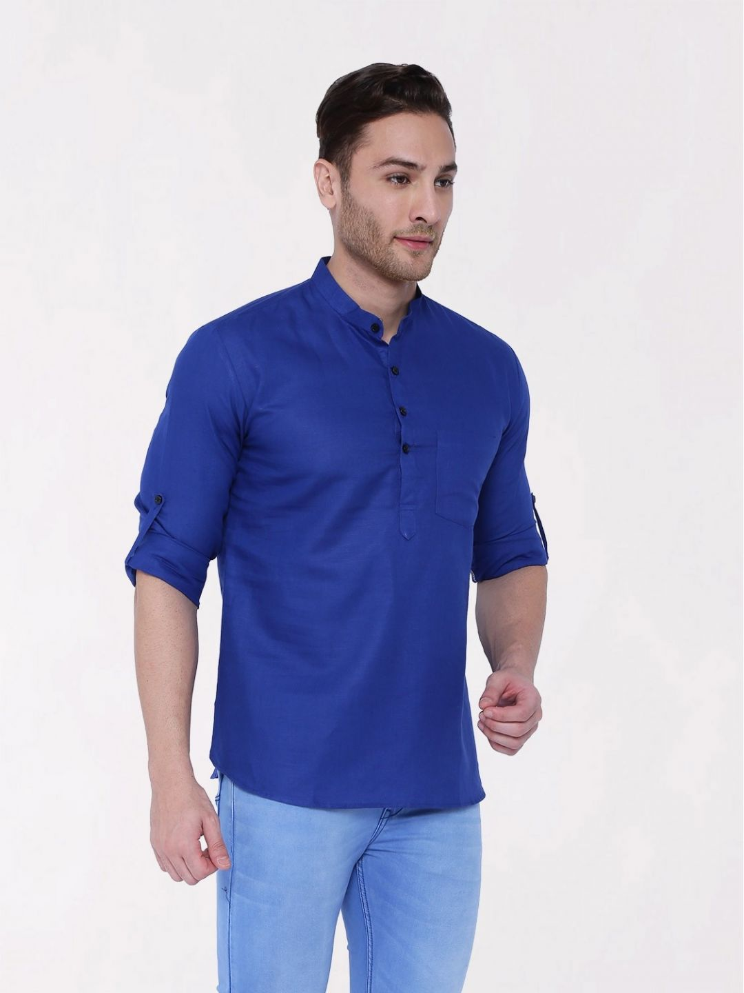 Blue Roll Up Sleeve Linen Short Kurta