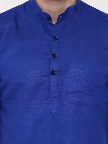 Blue Roll Up Sleeve Linen Short Kurta