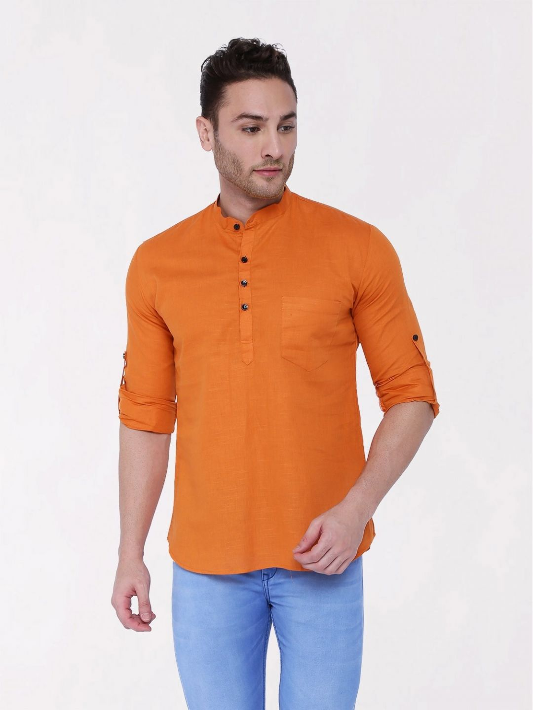 Orange Roll Up Sleeve Linen Short Kurta