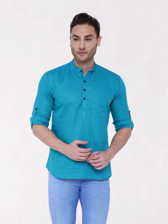Teal Blue Roll Up Sleeve Linen Short Kurta