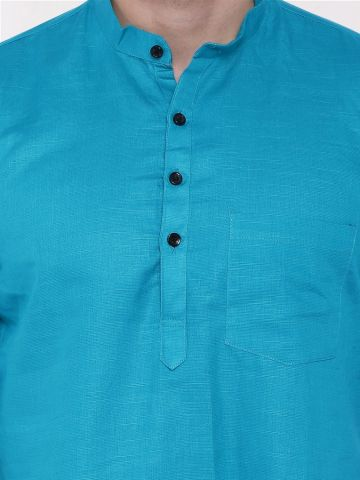 Teal Blue Roll Up Sleeve Linen Short Kurta