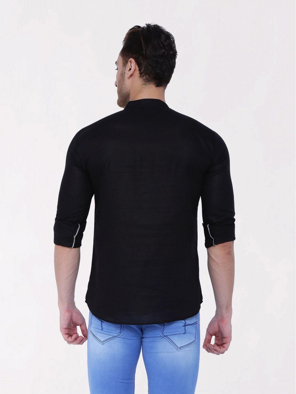 Black Roll Up Sleeve Linen Short Kurta