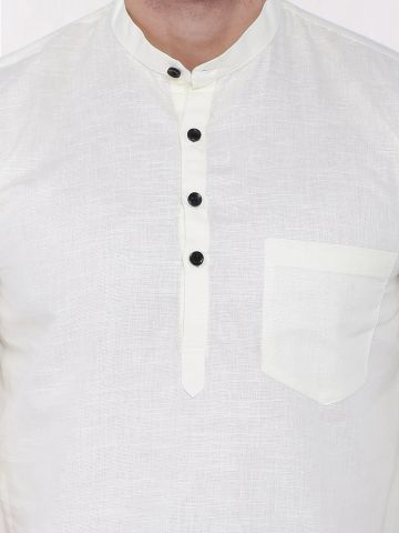 Off White Roll Up Sleeve Linen Short Kurta