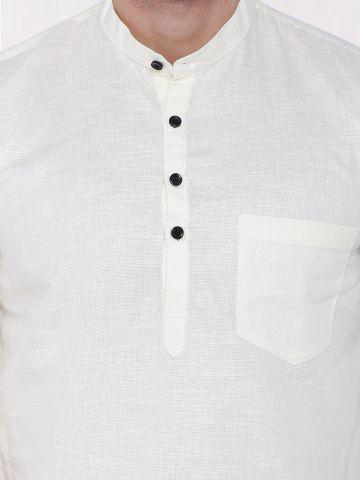 Off White Roll Up Sleeve Linen Short Kurta