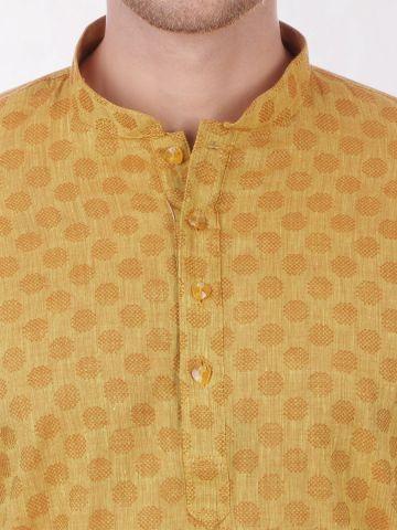 Mustard Handloom Dobby Cotton Kurta
