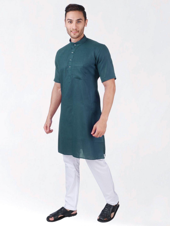 Teal Green Tussar Cotton Kurta (Half Sleeve)